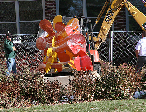 Steel Splat, being installed in front of Colorado State University's Art Center, Fort Collins, CO, 2007